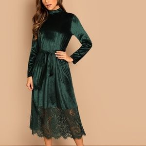 Holiday Green Lace Dress